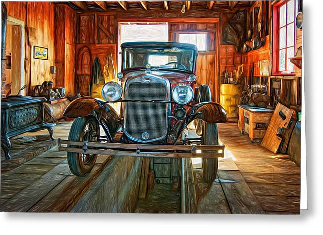 Ford Model T Car Greeting Cards - Simpler Times - Paint Greeting Card by Steve Harrington