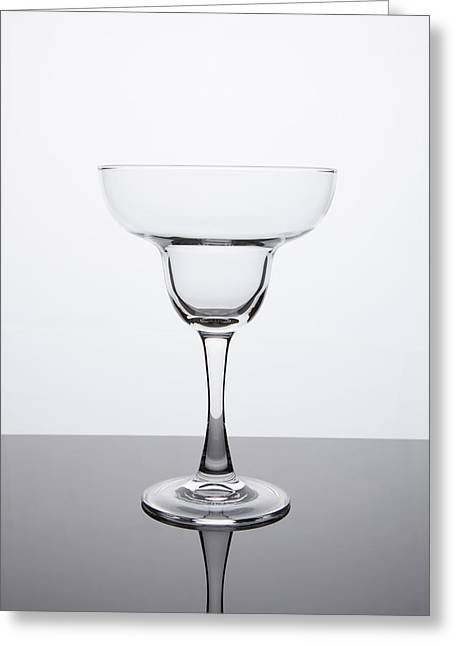 Glass Reflecting Greeting Cards - Simplicity - Empty Margarita Glass Greeting Card by Erin Cadigan
