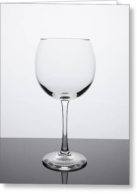 Simplicity - Empty Red Wine Glass Greeting Card by Erin Cadigan