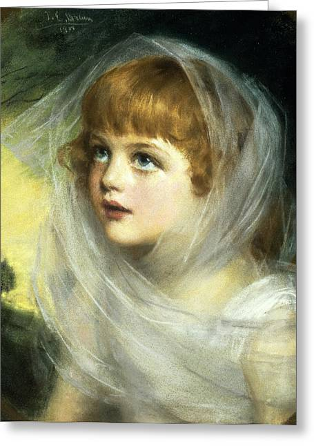 Rosy Greeting Cards - Simplicity And Innocence, 1900 Pastel Greeting Card by John Ernest Breun