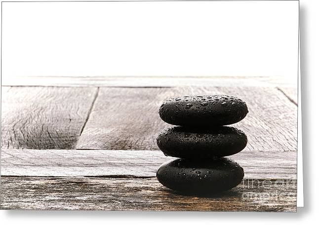 Meditative Greeting Cards - Simplicity Wet Greeting Card by Olivier Le Queinec