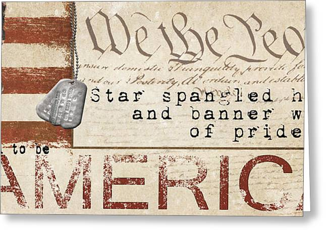 Mixed Media Collages Greeting Cards - Simplified America Greeting Card by Grace Pullen