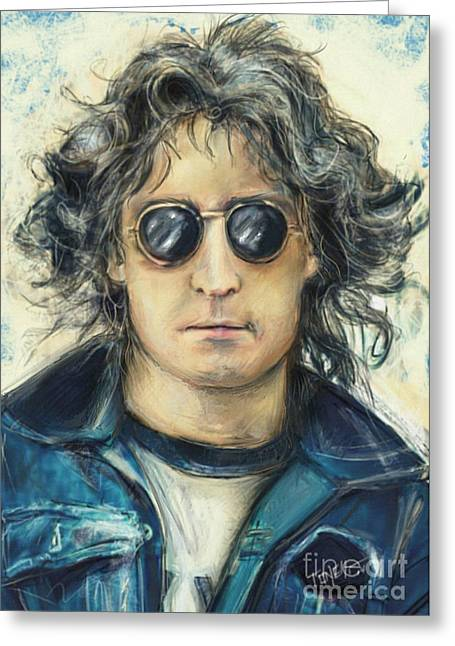 Apple Records Greeting Cards - Simply John Lennon Greeting Card by Mark Tonelli
