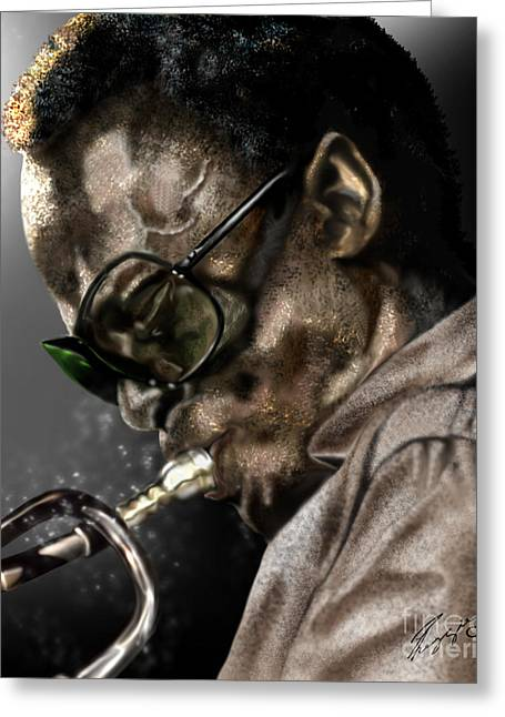 Jazz Musician Greeting Cards - Simply Miles Greeting Card by Reggie Duffie