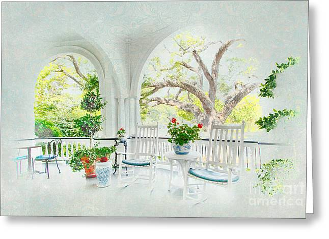 Rocking Chairs Greeting Cards - Simply Southern Greeting Card by Dan Carmichael