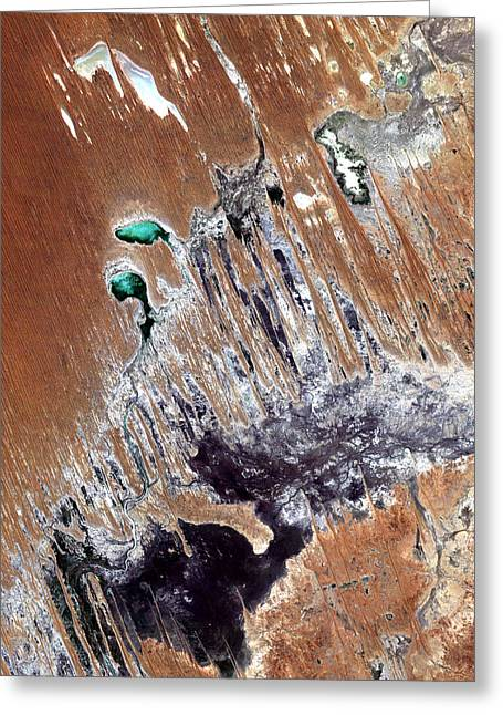 Satellite Greeting Cards - Simpson Desert  Australia  Greeting Card by Anonymous