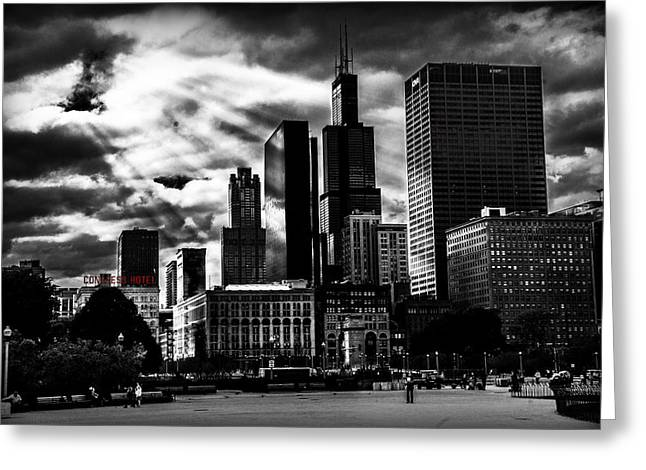 Chicago Pyrography Greeting Cards - Sin City Greeting Card by Matthew  Sawicki