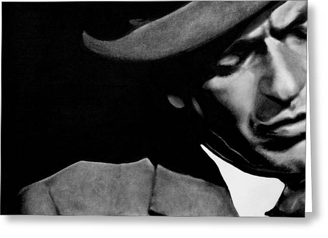 Leon Jimenez Greeting Cards - Sinatra B/W Greeting Card by Leon Jimenez