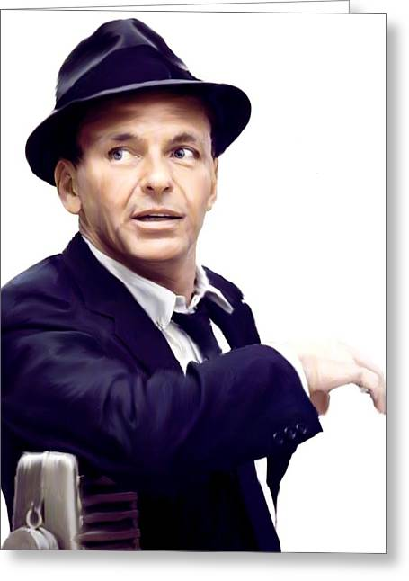 New Drawings Greeting Cards - Sinatra VII  Frank  Sinatra Greeting Card by Iconic Images Art Gallery David Pucciarelli