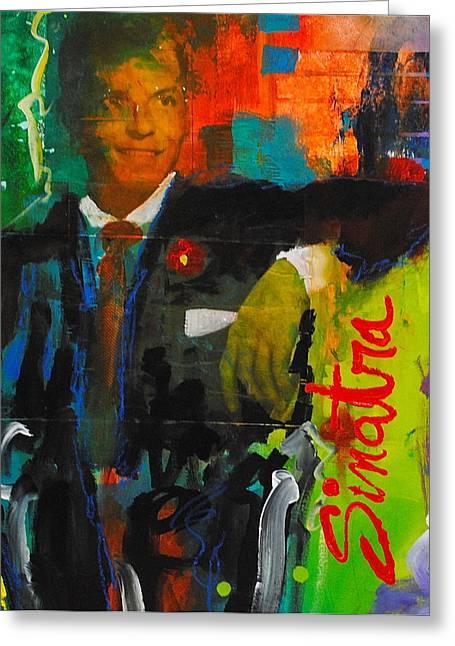 Ole Blue Eyes Greeting Cards - Sinatra Greeting Card by Gino Savarino