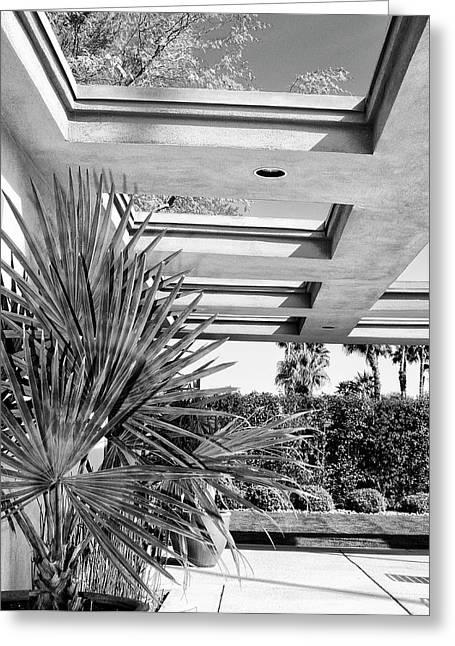 Palm Springs Life Greeting Cards - SINATRA PATIO BW Palm Springs Greeting Card by William Dey