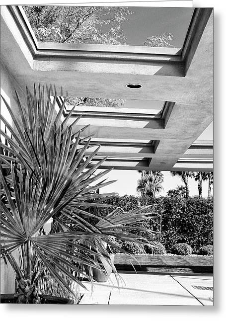 Modernism Greeting Cards - SINATRA PATIO BW Palm Springs Greeting Card by William Dey