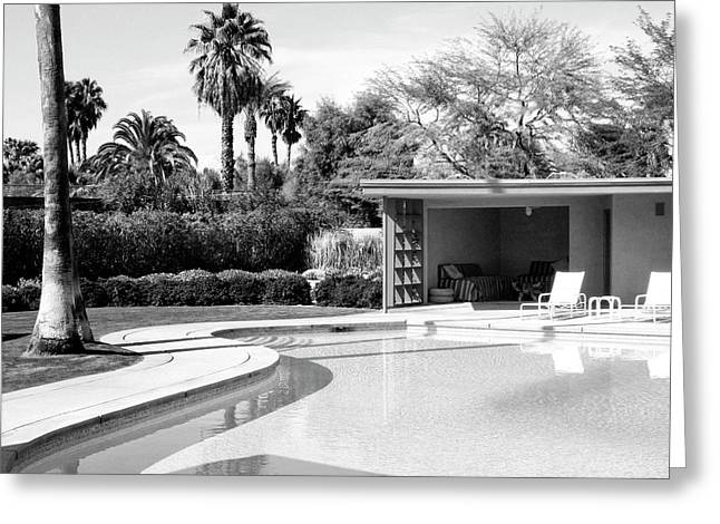 Cabanas Greeting Cards - SINATRA POOL AND CABANA BW Palm Springs Greeting Card by William Dey