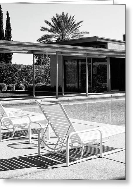 Famous Greeting Cards - SINATRA POOL BW Palm Springs Greeting Card by William Dey