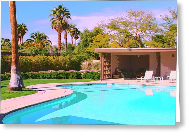 Sinatra Pool Cabana Palm Springs Greeting Card by William Dey