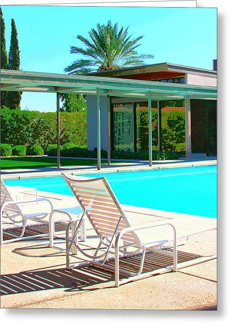 Lounge Photographs Greeting Cards - SINATRA POOL Palm Springs Greeting Card by William Dey