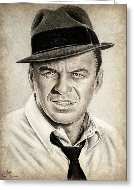Crooner Greeting Cards - Sinatra sepia mix Greeting Card by Andrew Read