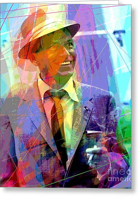 Popular Music Greeting Cards - Sinatra Swings Greeting Card by David Lloyd Glover