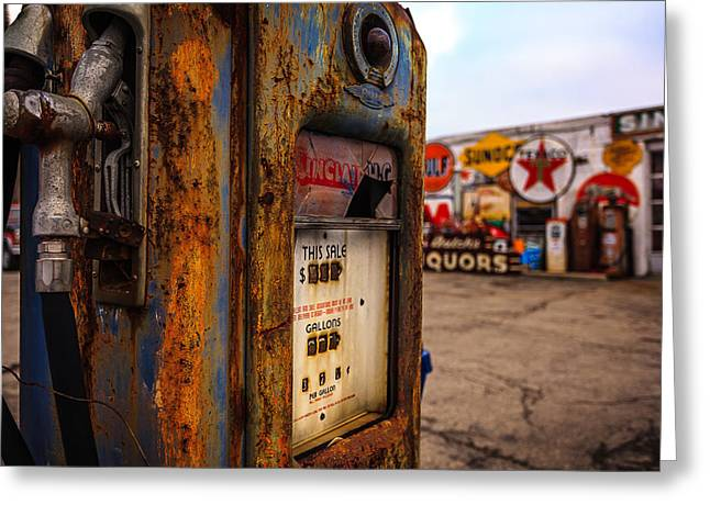 Texaco Sign Greeting Cards - Sinclair Gas Pump Greeting Card by Keith Allen