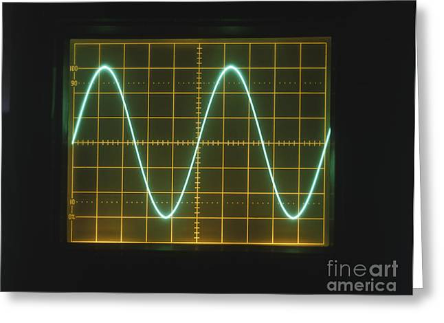 Sine Greeting Cards - Sine Wave Displayed On Oscilloscope Greeting Card by Clive Streeter / Dorling Kindersley / Marconi Instruments Ltd