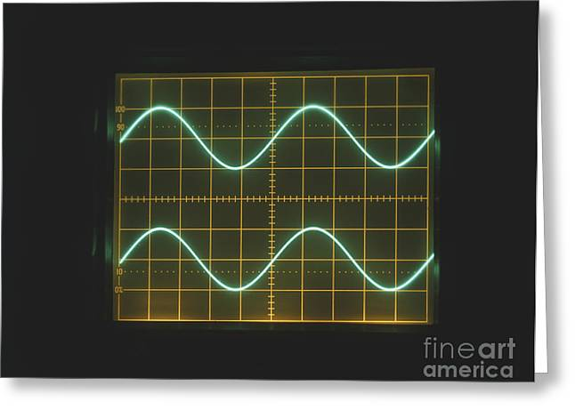 Sine Greeting Cards - Sine Waves On Oscilloscope Greeting Card by Clive Streeter / Dorling Kindersley / Marconi Instruments Ltd