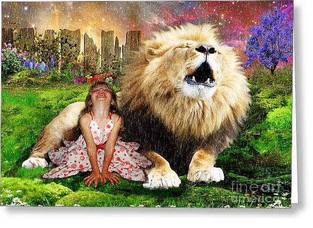 Lions Greeting Cards - Sing with The King Greeting Card by Dolores Develde