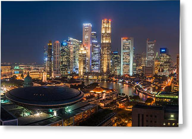 Wolkenkratzer Greeting Cards - Singapore - Skyline Panorama Greeting Card by Jean Claude Castor