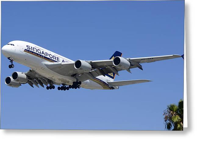 A380 Greeting Cards - Singapore Airlines Airbus A380-841 9V-SKK Los Angeles International Airport August 20 2013 Greeting Card by Brian Lockett