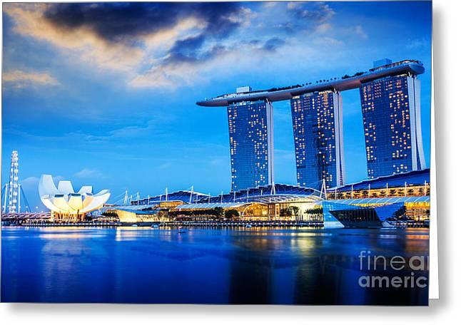 Helix Greeting Cards - Singapore city  Greeting Card by Anek Suwannaphoom