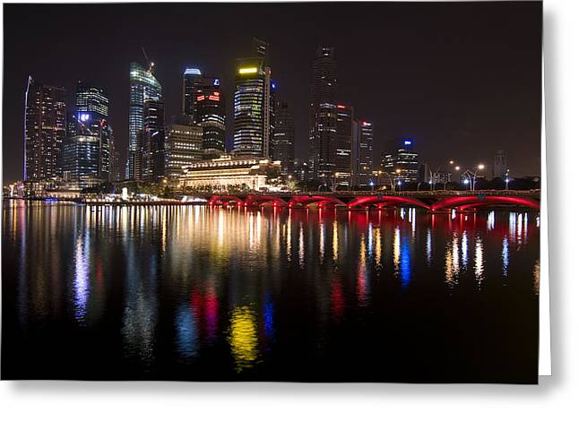 Singapore Greeting Cards - Singapore City Lights Greeting Card by Aaron S Bedell