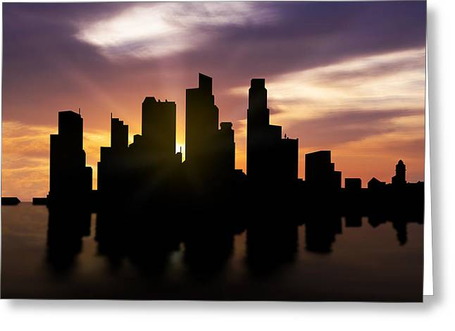 Dusk Mixed Media Greeting Cards - Singapore City Sunset Skyline  Greeting Card by Aged Pixel