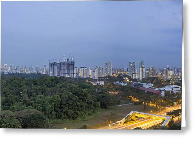 Singapore Cityscape At Evening Blue Hour Greeting Card by JPLDesigns