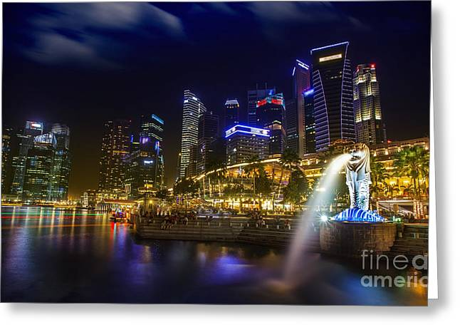 Bund Greeting Cards - Singapore financial district Greeting Card by Anek Suwannaphoom