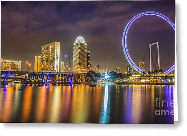 Esplanade Outdoors Greeting Cards - Singapore flyer  Greeting Card by Anek Suwannaphoom