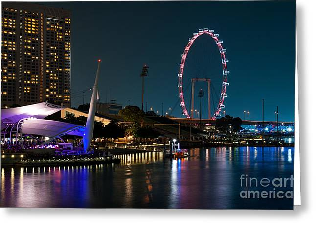 Outdoor Theater Photographs Greeting Cards - Singapore Flyer At Night Greeting Card by Rick Piper Photography