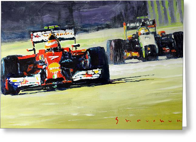 Sahara Greeting Cards - 2014 Singapore GP Raikkonen Scuderia Ferrari F14 T Perez Sahara Force India F1  Greeting Card by Yuriy Shevchuk