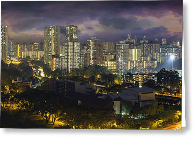 Singapore Housing Estate With Stormy Sky Greeting Card by JPLDesigns