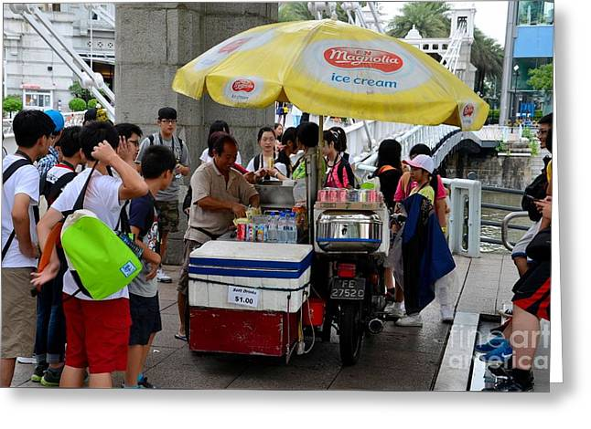 Singapore Ice Cream Man And Bicycle Swamped By Students Greeting Card by Imran Ahmed