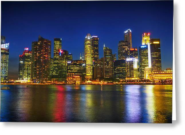 Ocean Panorama Greeting Cards - Singapore Night Skyline Greeting Card by Mountain Dreams