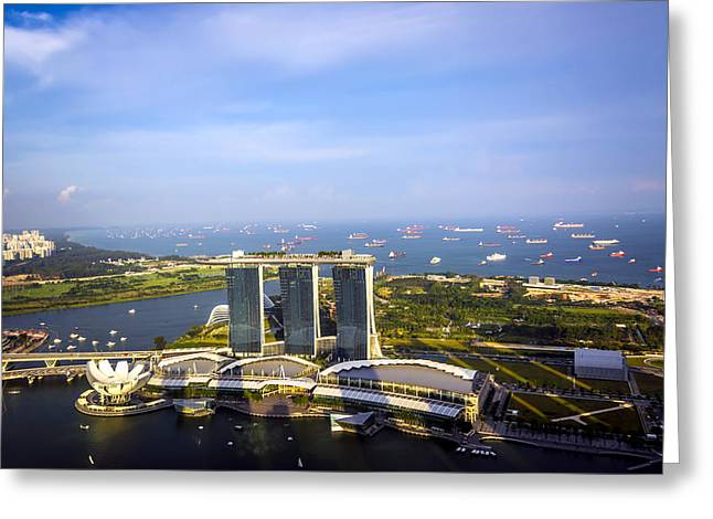 Famous Bridge Greeting Cards - Singapore Port Greeting Card by Jijo George