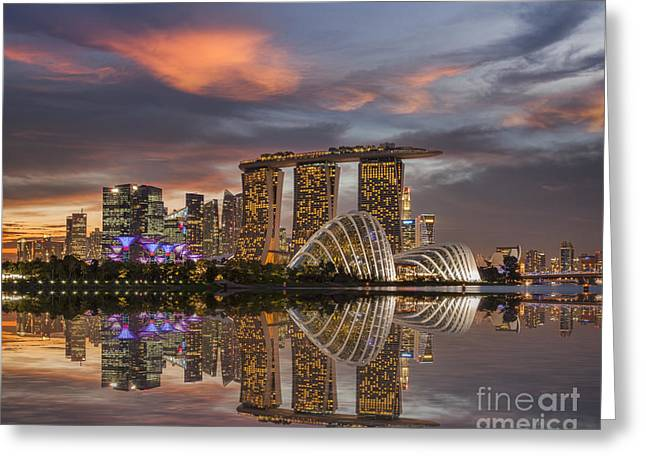 Conservatory Greeting Cards - Singapore Skyline Beautiful Sunset Greeting Card by Colin and Linda McKie