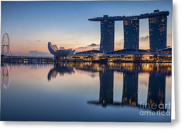 Singapore Greeting Cards - Singapore Skyline Greeting Card by Colin and Linda McKie
