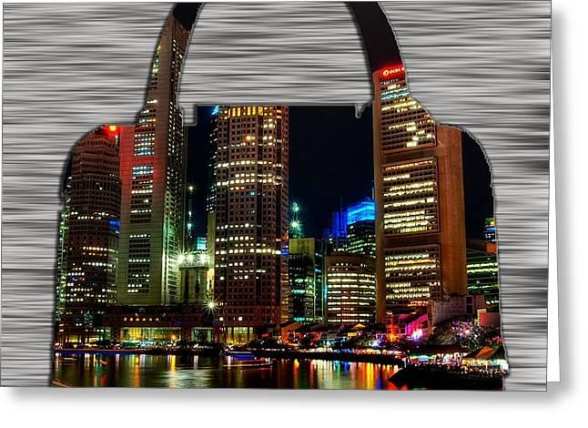 Handbag Greeting Cards - Singapore Skyline in a Handbag Greeting Card by Marvin Blaine