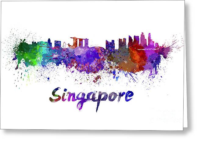 Singapore Greeting Cards - Singapore skyline in watercolor Greeting Card by Pablo Romero