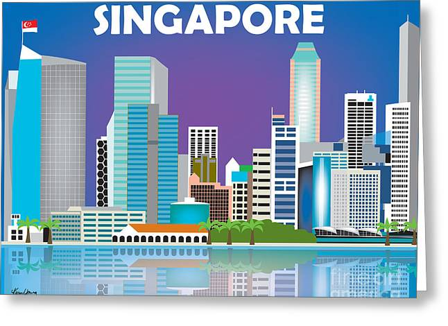 Singapore Greeting Cards - Singapore Skyline Greeting Card by Karen Young
