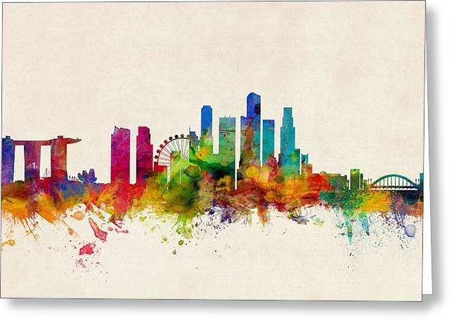 Skyline Greeting Cards - Singapore Skyline Greeting Card by Michael Tompsett