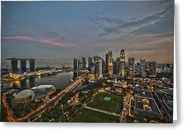 Asean Greeting Cards - Singapore Skyline Greeting Card by Nomad Art And  Design