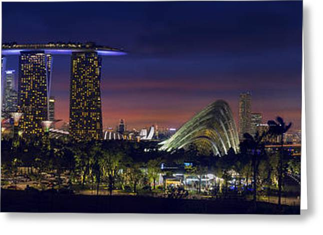 River View Greeting Cards - Singapore Skyline with Gardens by the Bay at Dusk Panorama Greeting Card by JPLDesigns