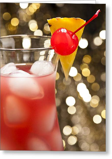 Grenadine Greeting Cards - Singapore Sling cocktail Greeting Card by Ulrich Schade