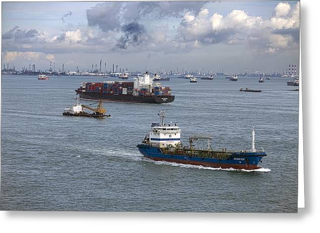 Straits Of Malacca Greeting Cards - Singapore Strait shipping traffic Greeting Card by Science Photo Library